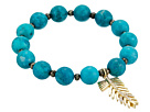 LAUREN Ralph Lauren Turquoise with Pave Feather Charm Beaded Bracelet
