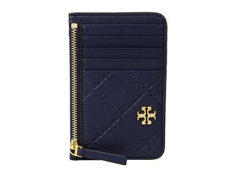 Tory Burch Georgia Top-Zip Card Case - Royal Navy
