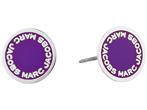 Marc Jacobs Logo Disc Enamel Studs Earrings - Purple