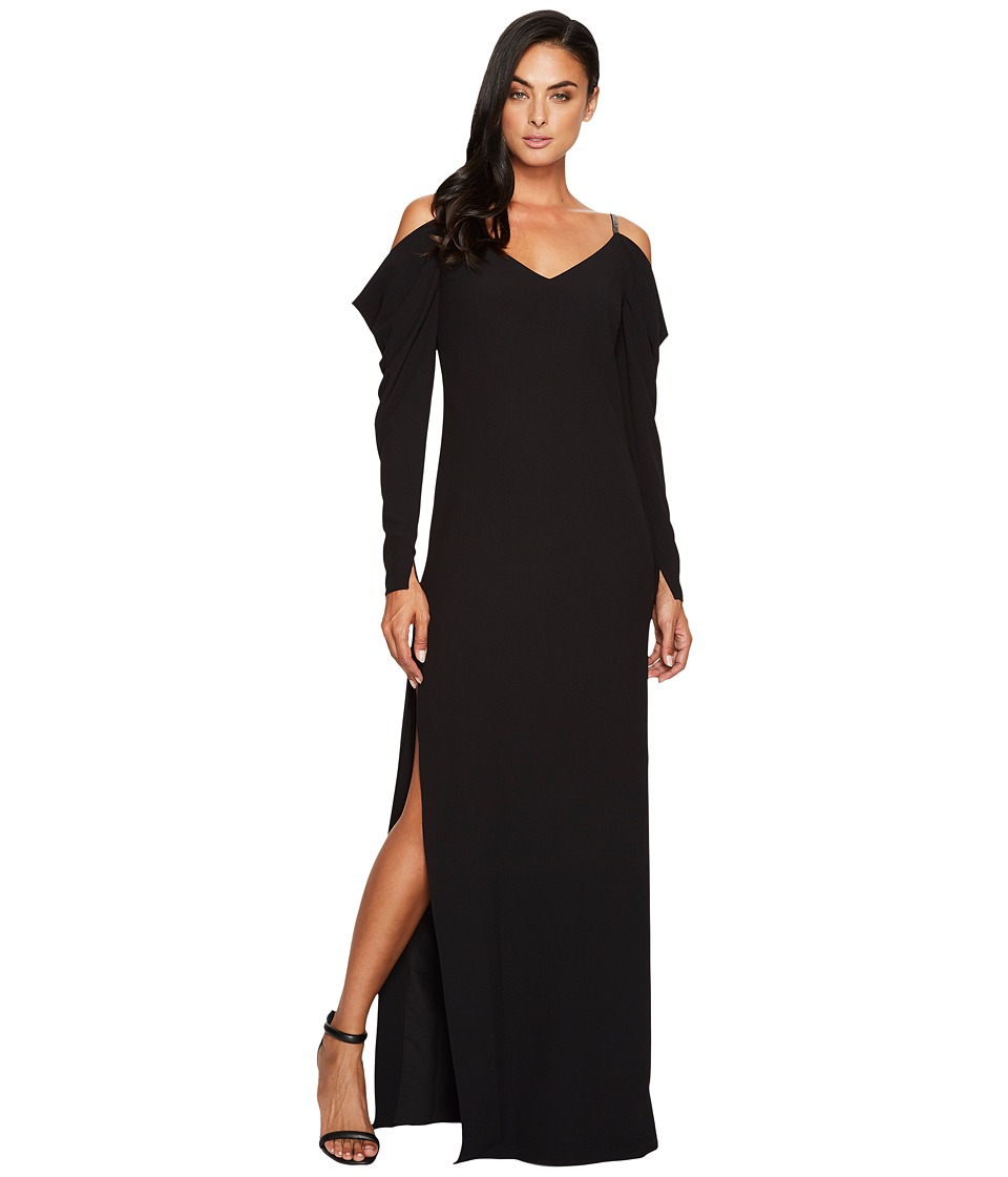 Halston Heritage Cold Shoulder Draped Long Sleeve Gown (Black) Women