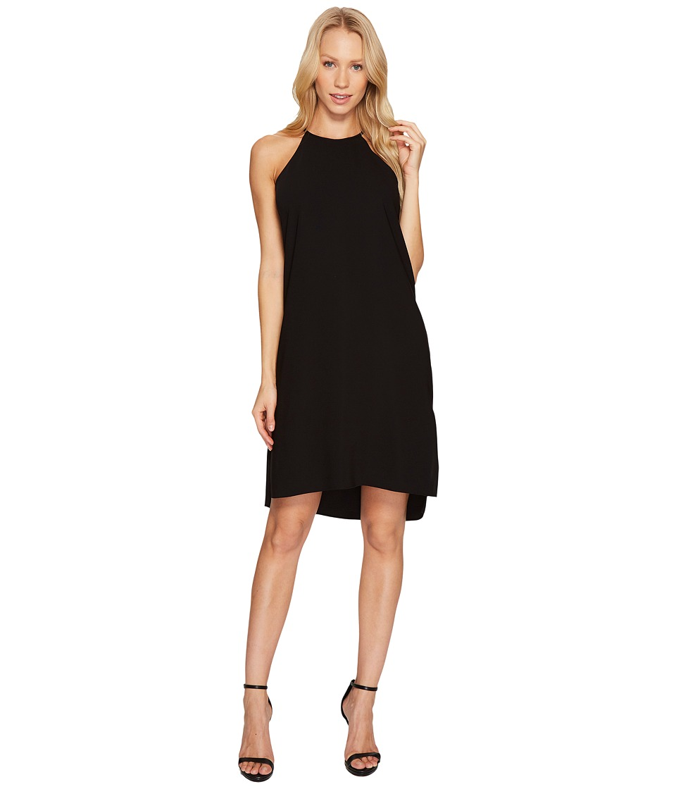 Halston Heritage Sleeveless Racerback Crepe Slip Dress (Black) Women