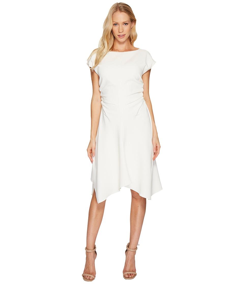 Halston Heritage Short Sleeve Wide Boat Neck Dress w/ Waist Gathers (Cream) Women