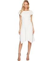 Halston Heritage - Short Sleeve Wide Boat Neck Dress w/ Waist Gathers