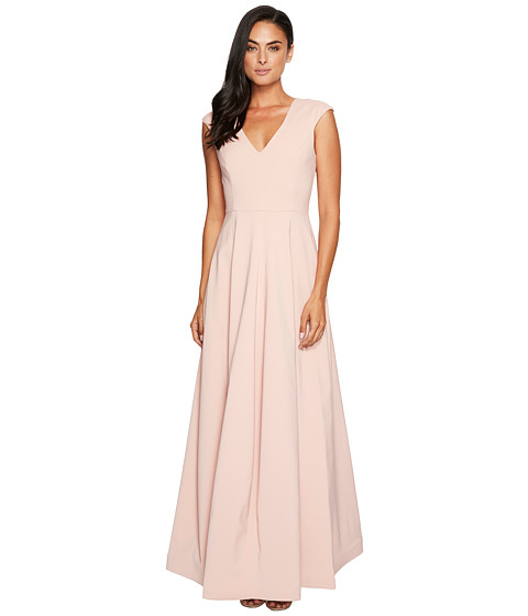 Halston Heritage Cap Sleeve V-Neck Silk Faille Gown