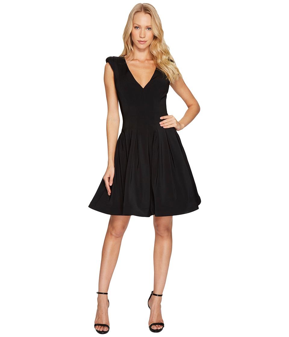 Halston Heritage Cap Sleeve V-Neck Fit Flare Dress (Black) Women