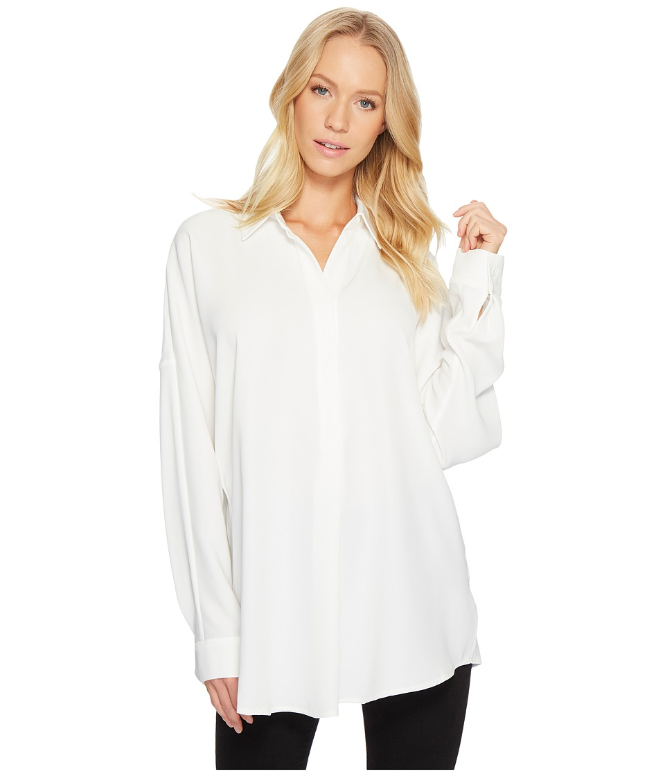 CATHERINE Catherine Malandrino - Long Sleeve Collared V-Neck Shirt Top (Birch) Womens Clothing