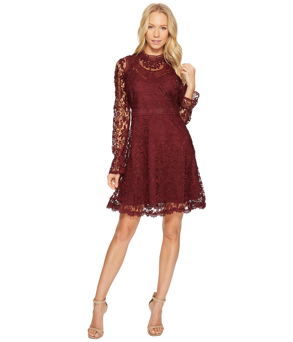 CATHERINE Catherine Malandrino All Over Lace High Neck Fitted A-Line Dress (Grape Wine) Women