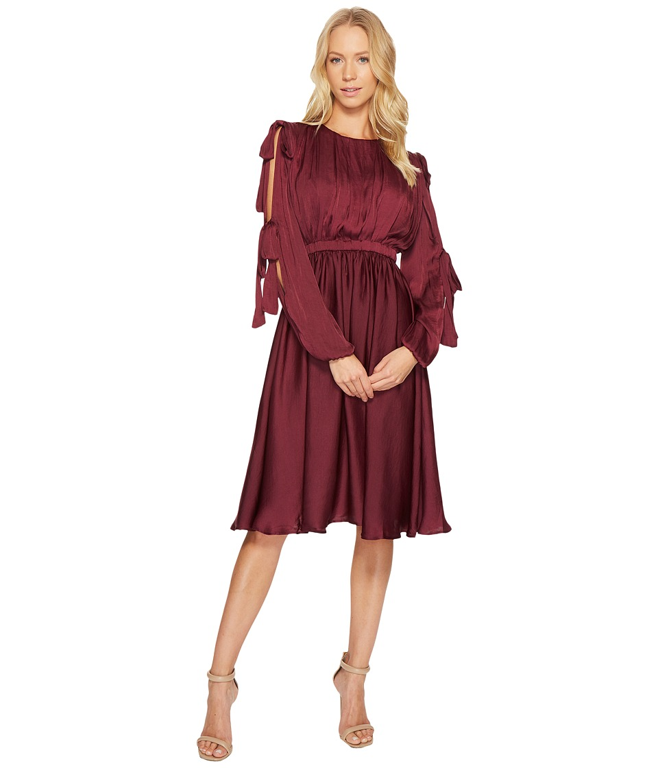 CATHERINE Catherine Malandrino Long Slit Sleeve Pleated Midi Dress (Grape Wine) Women