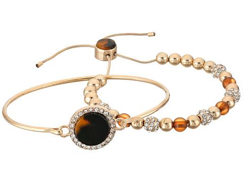 GUESS Duo Bracelet Set w/ Tension and Slider Close Bracelet - Gold/Crystal/Tortoise