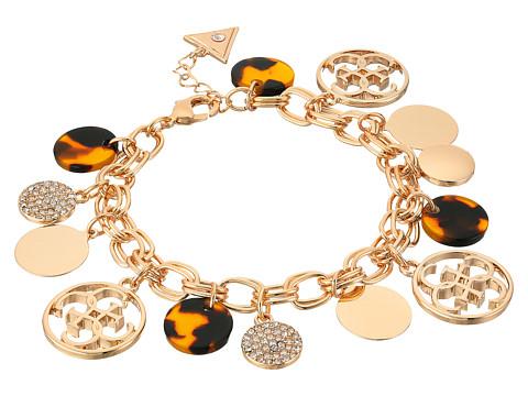 GUESS Multi Disc Charm Logo Bracelet - Gold/Crystal/Tortoise