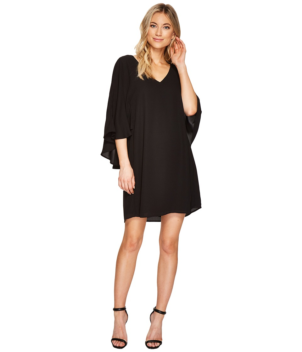 CATHERINE Catherine Malandrino Deep V-Neck Back Capelet Dress (Black Beauty) Women