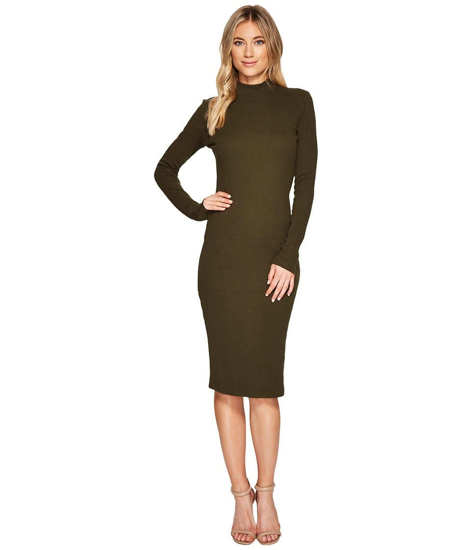 CATHERINE Catherine Malandrino Long Sleeve Ribbed Knit Bodycon Dress (Forest Night) Women