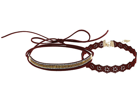 GUESS Crochet Look Choker w/ Tie and Bead Choker - Gold/Maroon