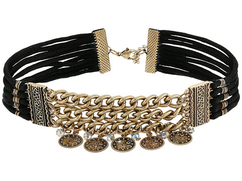 GUESS Wide Chain Front Choker w/ Coin Drops - Burnished Gold/Black