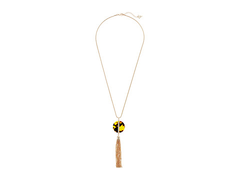 GUESS Disc Pendant w/ Tassel Y Necklace - Gold/Crystal/Tortoise