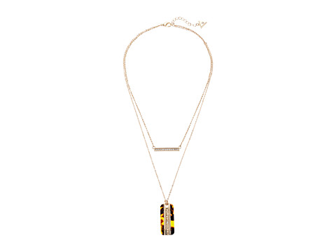 GUESS Duo Necklace w/ Bar and Dog Tag - Gold/Crystal/Tortoise