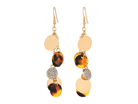 GUESS Multi Disc Drop Linear Earrings - Gold/Crystal/Tortoise