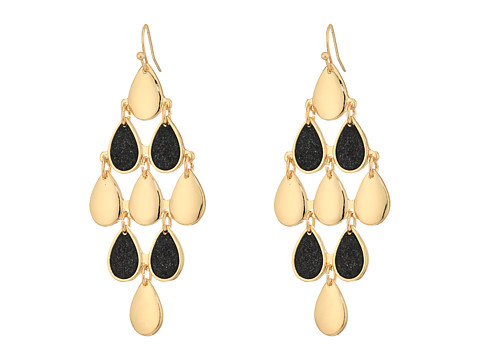 GUESS Kite Shaped Two-Tone Earrings - Gold/Jet