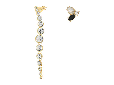 GUESS Stone Studs Paired w/ Ear Crawler - Gold/Jet/Crystal