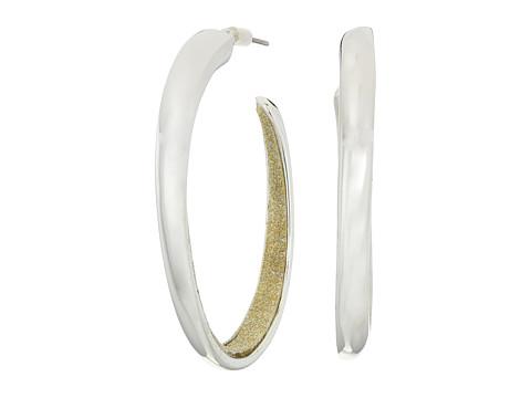GUESS Oval C Hoop Earrings w/ Glitter Inside - Silver/Gold Glitter