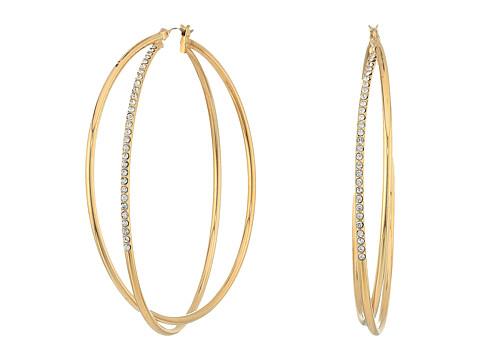 GUESS Double Wire Crisscross Hoop Earrings - Gold/Crystal