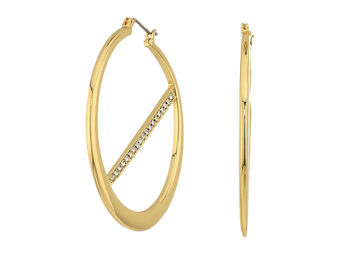 GUESS Hoop Earrings w/ Pave Bar Inside - Gold/Crystal