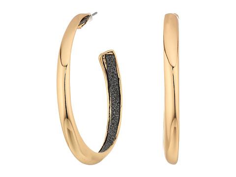 GUESS Medium Hoop Earrings w/ Jet Inside - Gold/Jet