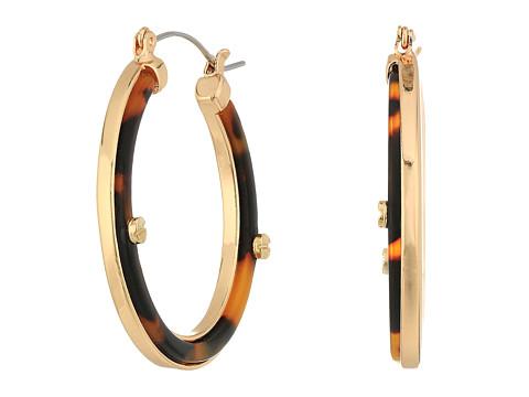GUESS Tortoise Hoop Earrings w/ Screw Accents - Gold/Tortoise