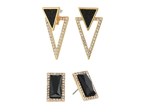 GUESS Duo Ear Button and Front to Back Earrings - Gold/Jet/Crystal