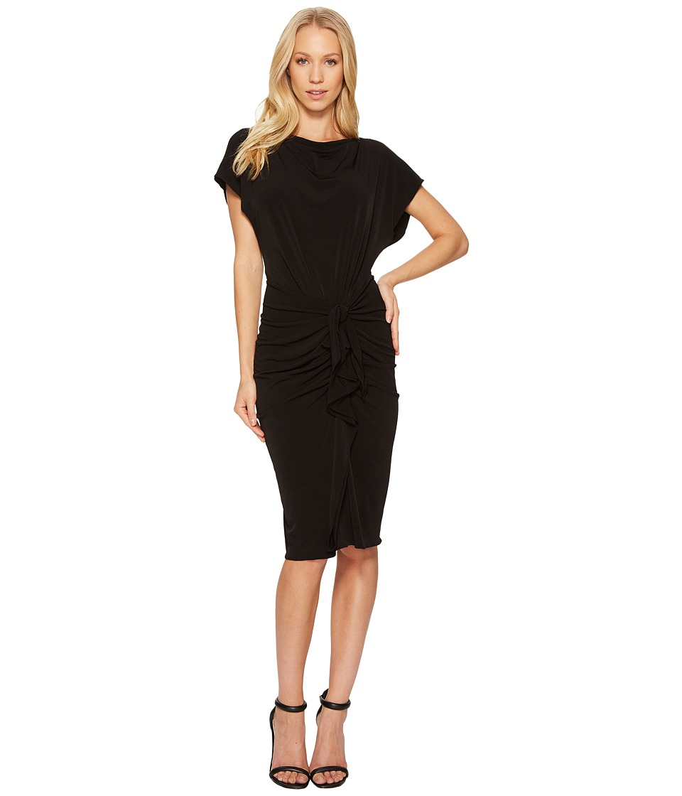 CATHERINE Catherine Malandrino Boat Neck Sheath with Tie Waist (Black Beauty) Women