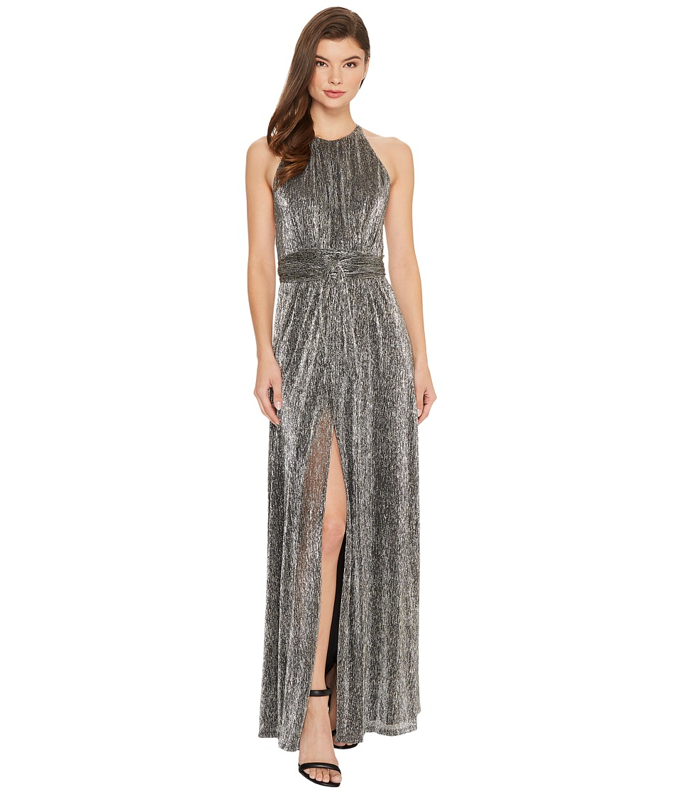 Halston Heritage Sleeveless High Neck Texture Metallic Gown w/ Strap Detail (Steel) Women