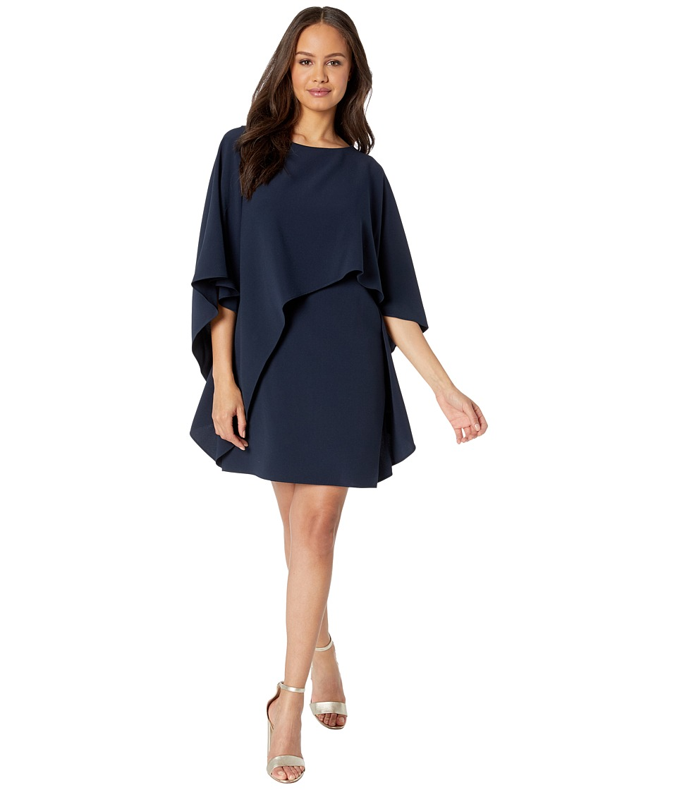Halston Heritage Flyaway Sleeve Boatneck Asymmetrical Drape Dress (Navy) Women