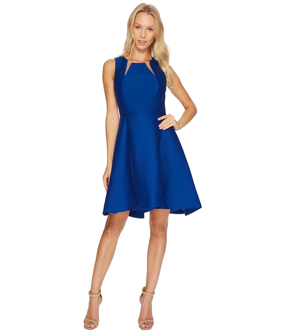 Halston Heritage Sleeveless Round Neck Silk Faille Dress w/ Cut Outs (Ultramarine) Women