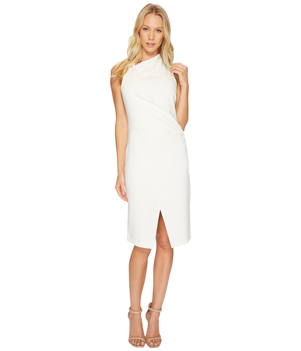 Halston Heritage Sleeveless Mock Neck Draped Front Dress (Cream) Women