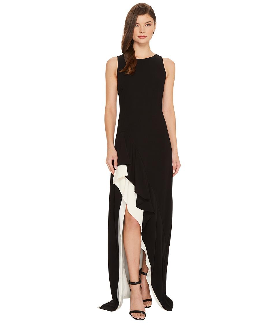 Halston Heritage Sleeveless Boatneck Colorblocked Asymmetrical Flounce Skirt Gown (Black/Cream) Women