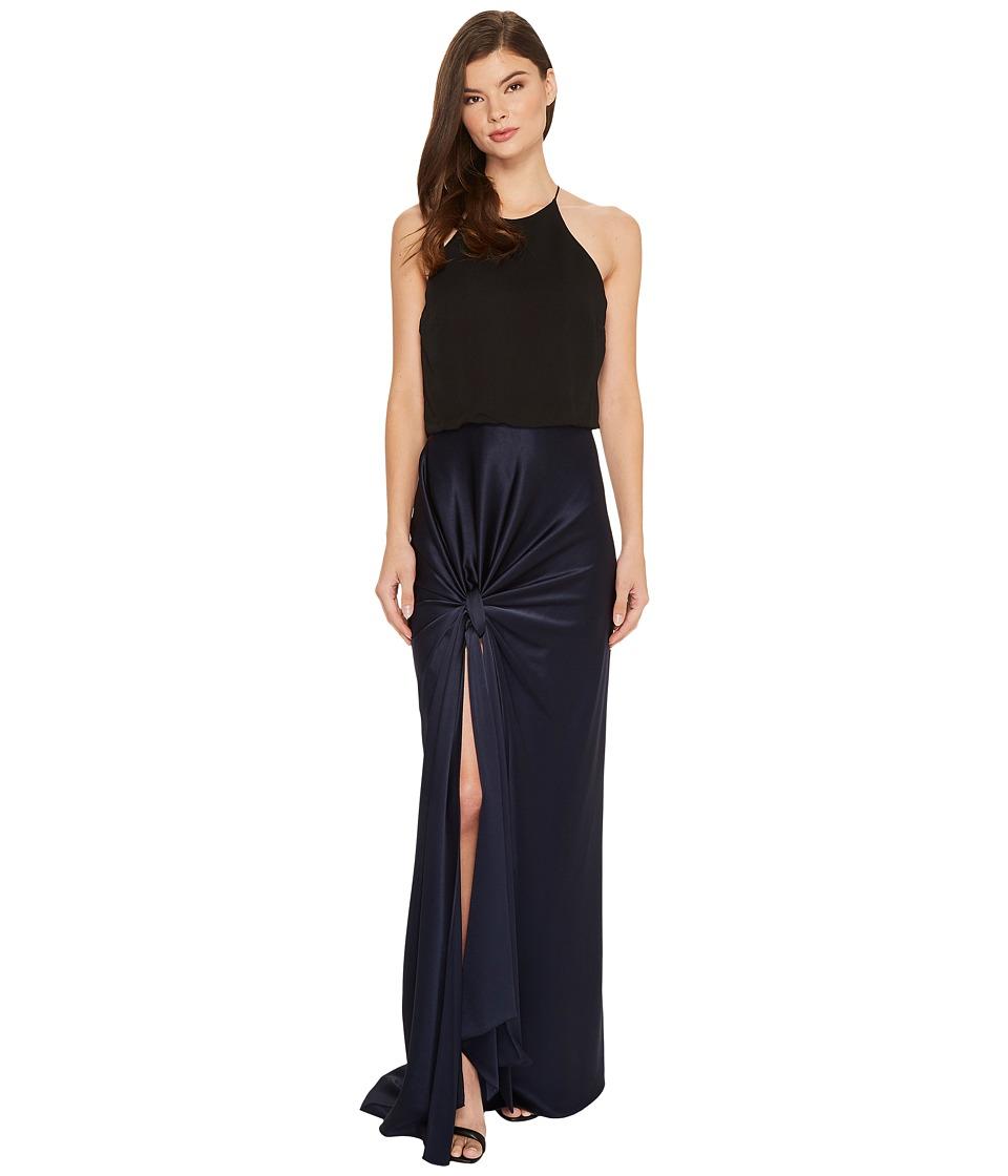 Halston Heritage Sleeveless High Neck Satin Gown w/ Twist Drape Skirt (Dark Navy/Black) Women