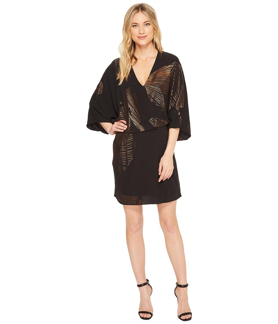 Halston Heritage Kimono Sleeve Faux Wrap Printed Dress (Black/Antique Gold Sunburst Floral Lines) Women