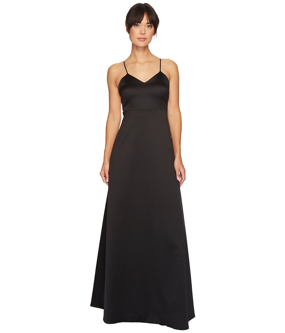Halston Heritage Sleeveless V-Neck Structured Gown w/ Bow (Black/Cream) Women