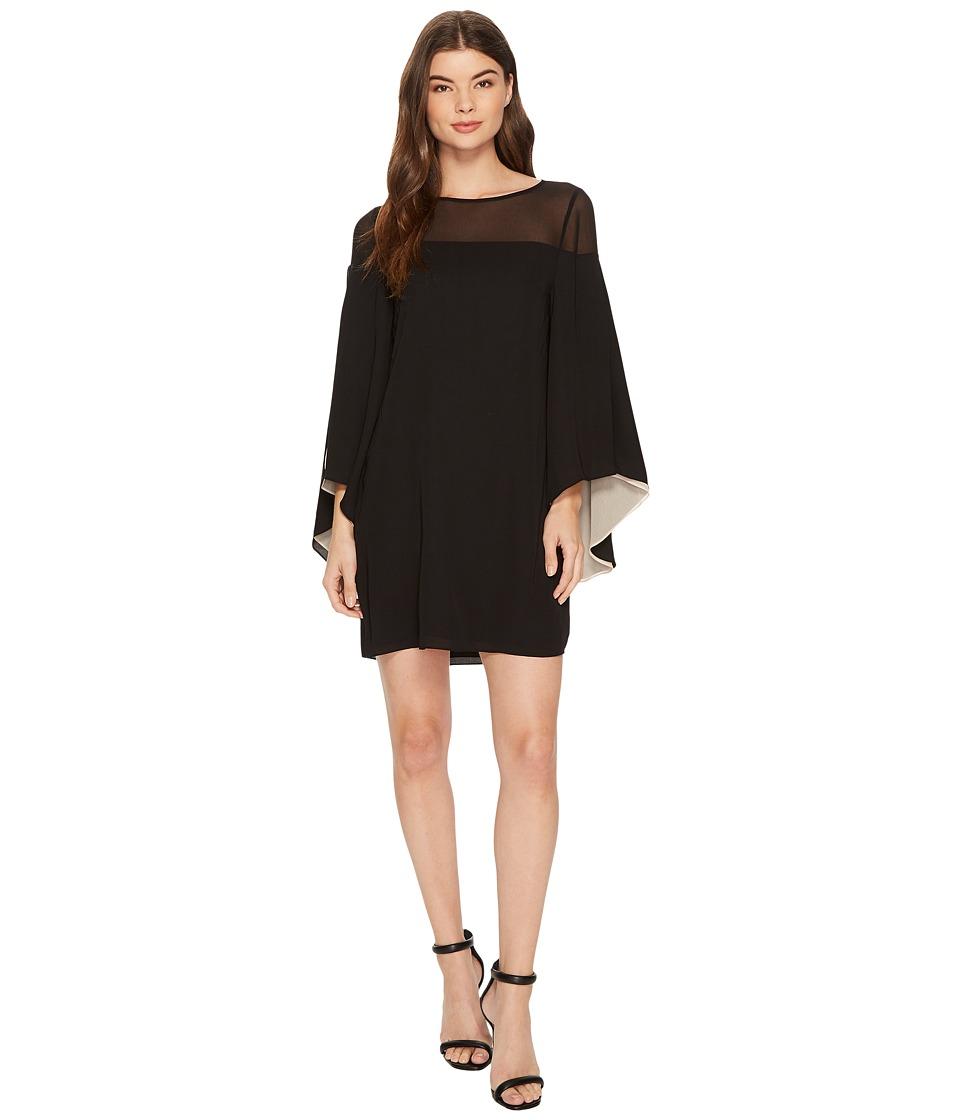 Halston Heritage Flowery Sleeve Sheer Yoke Colorblocked Dress (Black/Champagne) Women