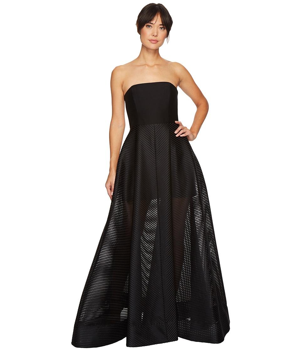 Halston Heritage Strapless Gown w/ Sheer Striped Skirt (Black) Women