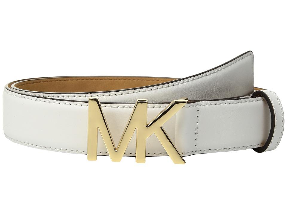 MICHAEL Michael Kors Smooth Feather Edge Panel on Slim MK Plaque (White) Women