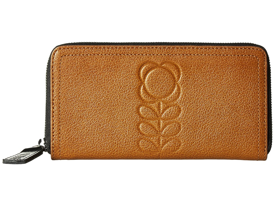 Orla Kiely - Embossed Flower Stem Leather Big Zip Wallet (Hazel) Wallet Handbags
