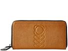 Orla Kiely Embossed Flower Stem Leather Big Zip Wallet