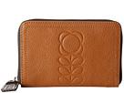 Orla Kiely Embossed Flower Stem Leather Medium Zip Wallet