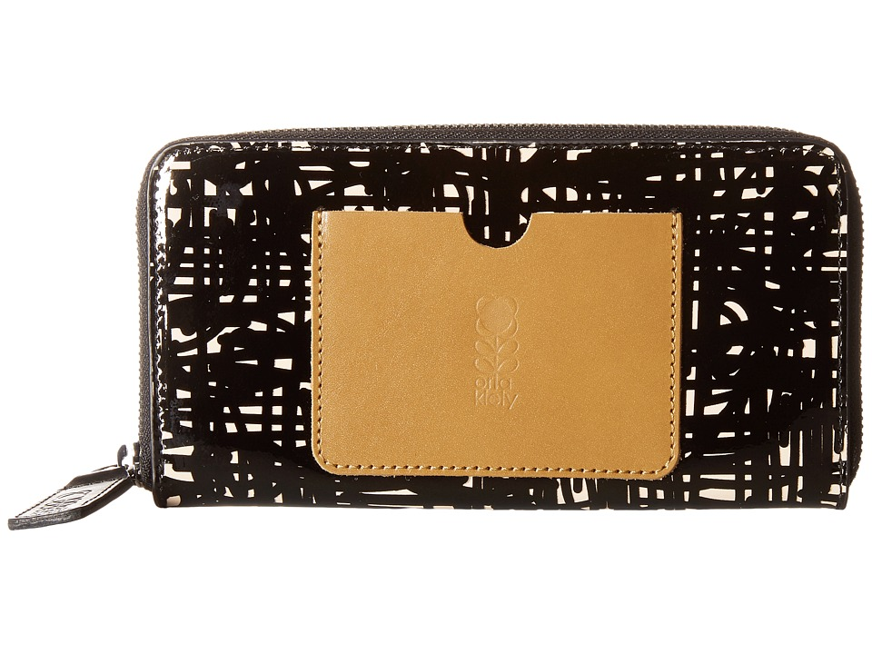 Orla Kiely - Texture Stem Leather Big Zip Wallet (Bark) Wallet Handbags