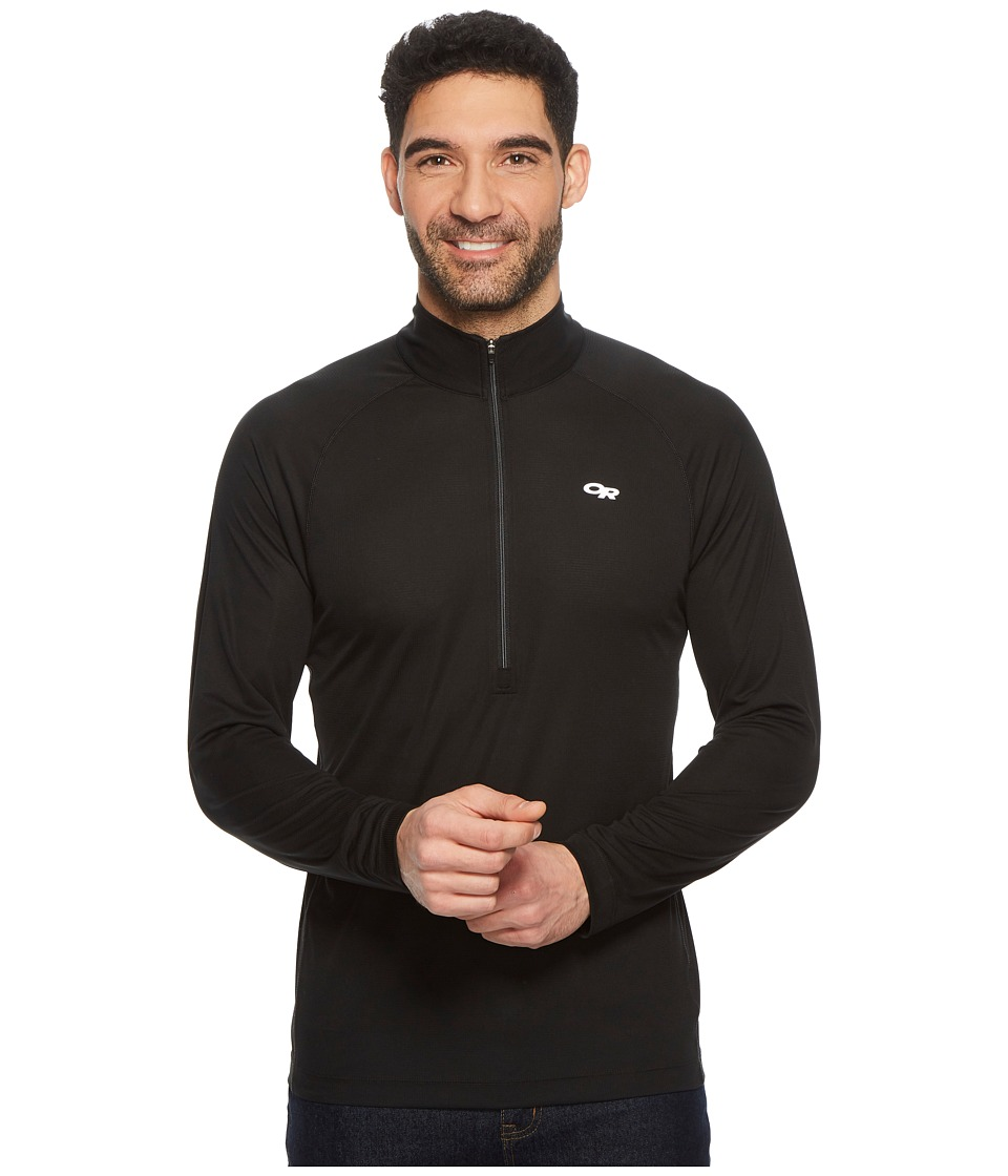 Outdoor Research - Echotm L/S Zip Tee (Black/Charcoal) Mens Long Sleeve Pullover