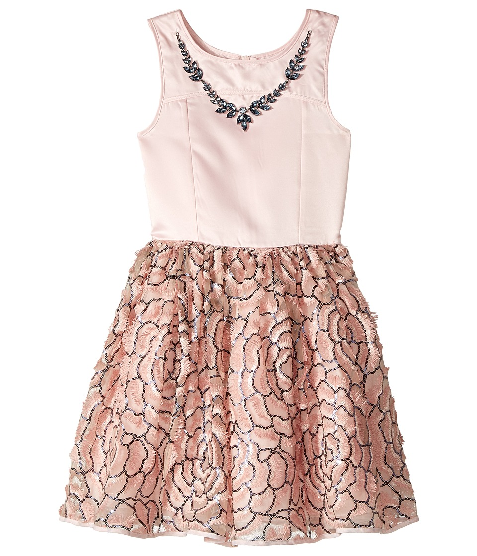 Nanette Lepore Kids - Matte Satin with Necklace Trim and Embroidered Organza