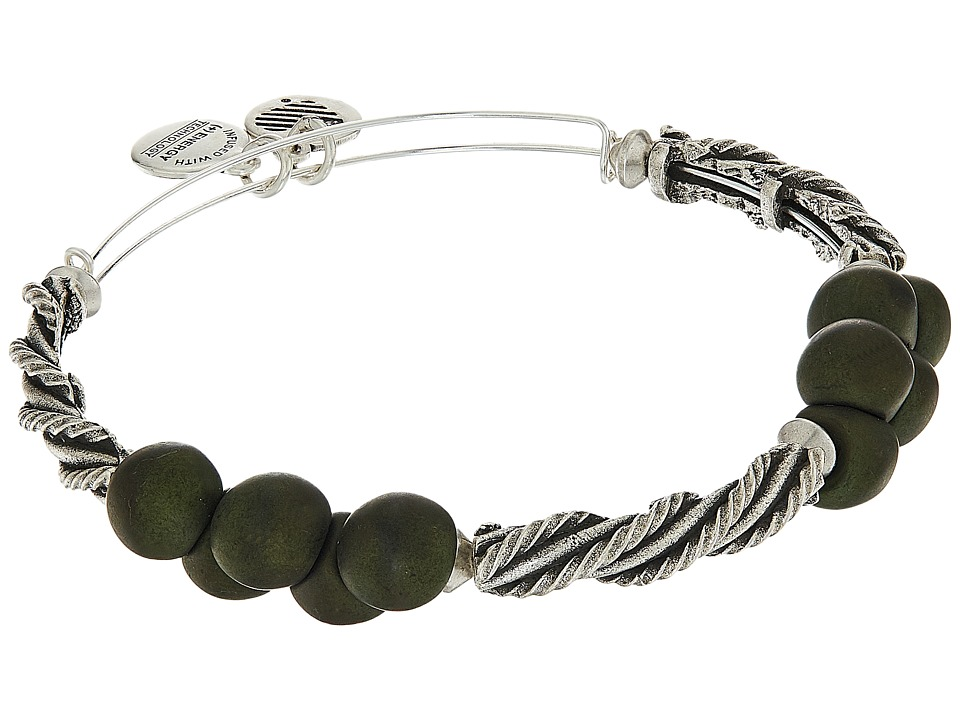 Alex and Ani - Spirit Spiral Bangle (Forest/Rafaelian Silver) Bracelet