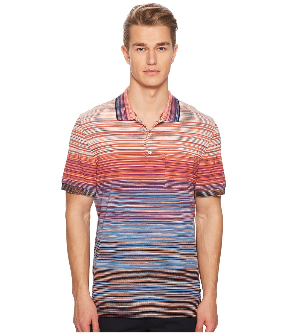 Missoni - Pique Sfumato Polo (Red/Blue) Mens Clothing