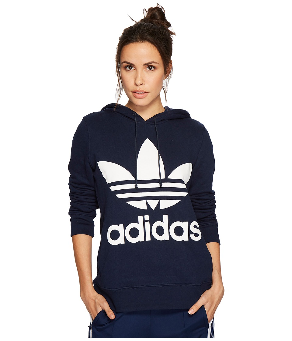 adidas Originals - Trefoil Hoodie (Collegiate Navy) Womens Long Sleeve Pullover